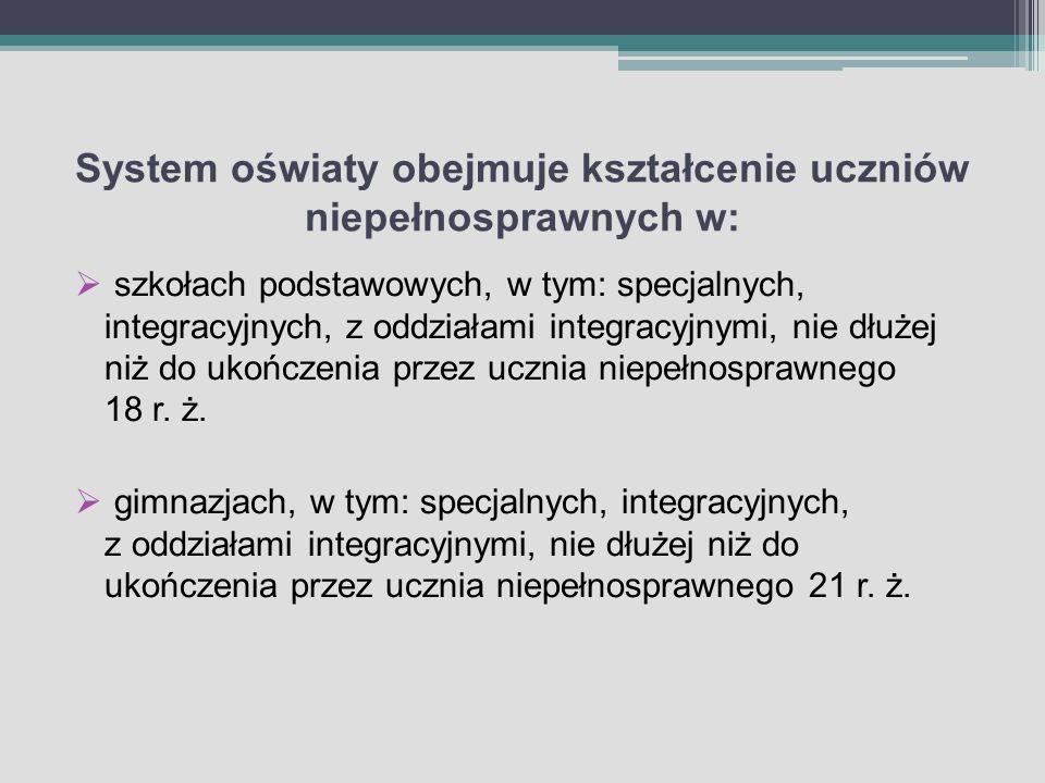 System oświaty obejmuje kształcenie uczniów niepełnosprawnych w:
