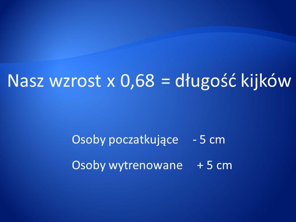 Nasz wzrost x 0,68 = długość kijków Osoby poczatkujące - 5 cm