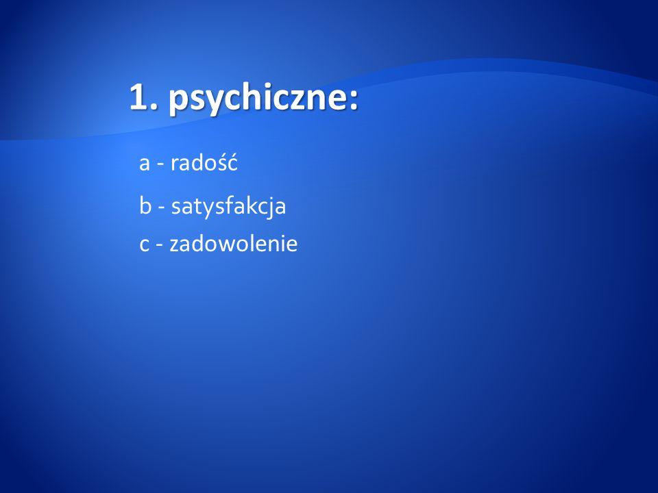 psychiczne: a - radość b - satysfakcja c - zadowolenie