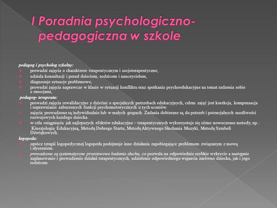 I Poradnia psychologiczno- pedagogiczna w szkole