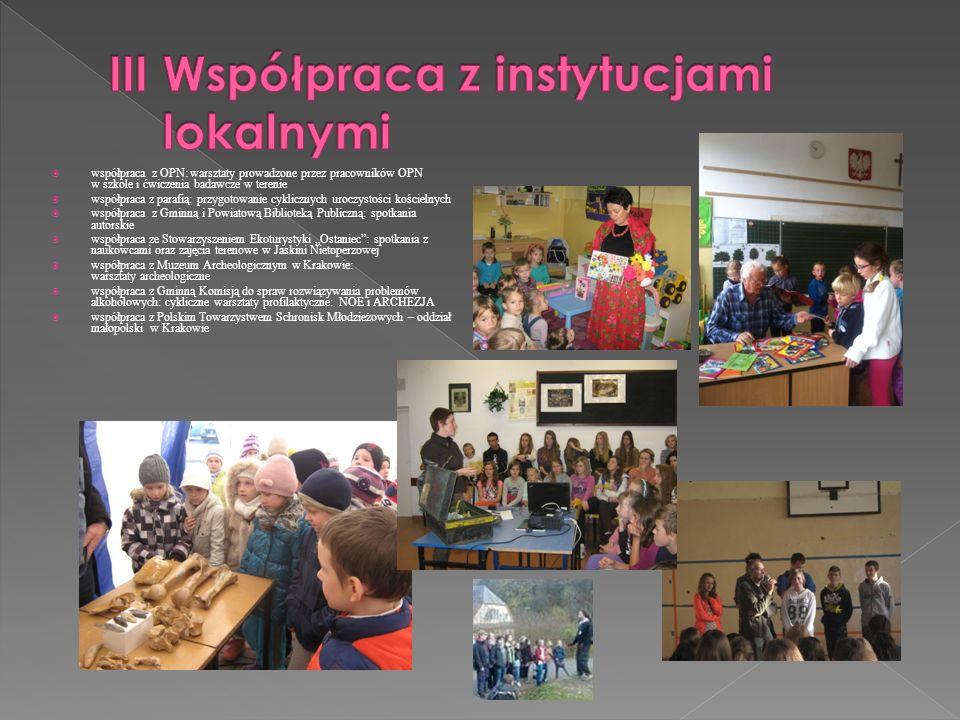 III Współpraca z instytucjami lokalnymi