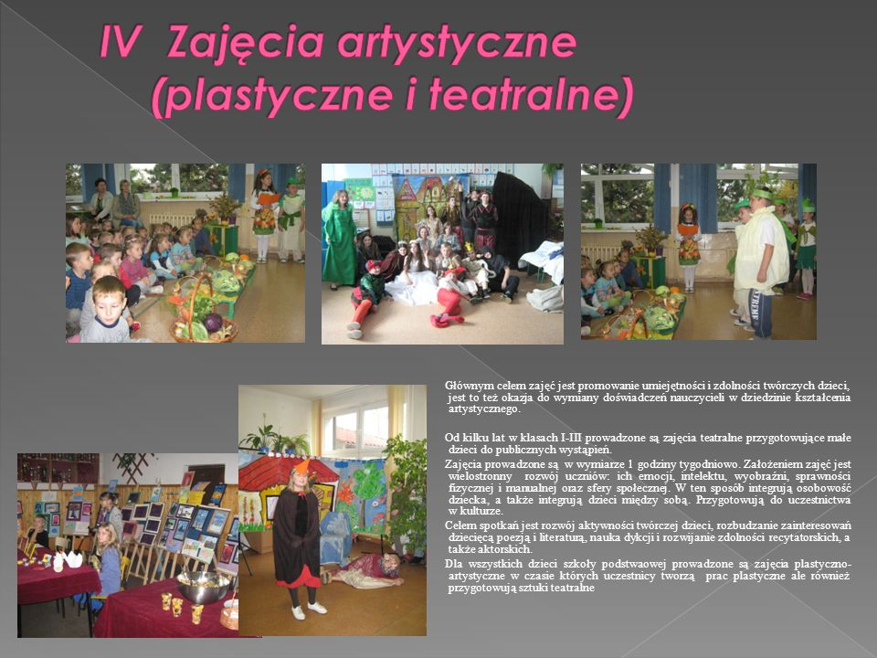 IV Zajęcia artystyczne (plastyczne i teatralne)