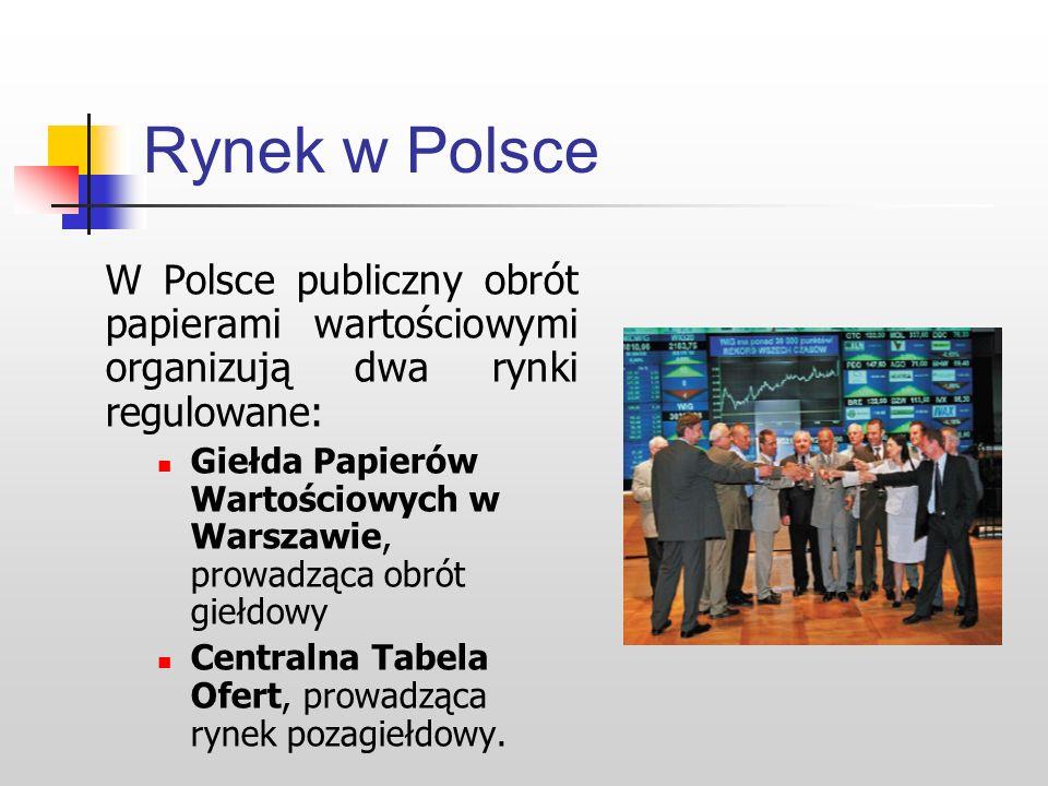 Rynek w Polsce W Polsce publiczny obrót papierami wartościowymi organizują dwa rynki regulowane: