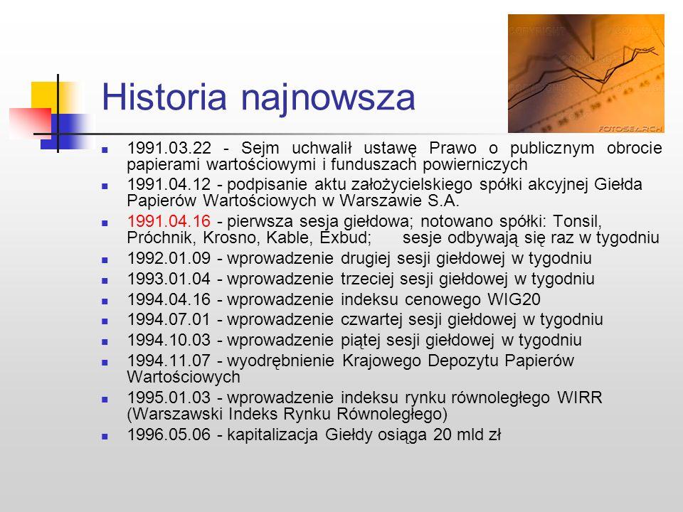 Historia najnowsza 1991.03.22 - Sejm uchwalił ustawę Prawo o publicznym obrocie papierami wartościowymi i funduszach powierniczych.
