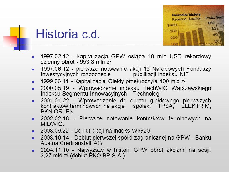 Historia c.d. 1997.02.12 - kapitalizacja GPW osiąga 10 mld USD rekordowy dzienny obrót - 953,8 mln zł.