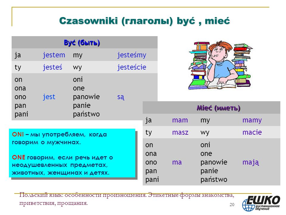 Czasowniki (глаголы) być , mieć Być (быть) ja jestem my jesteśmy ty