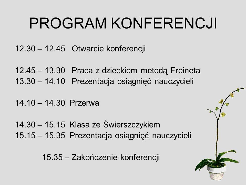 PROGRAM KONFERENCJI 12.30 – 12.45 Otwarcie konferencji