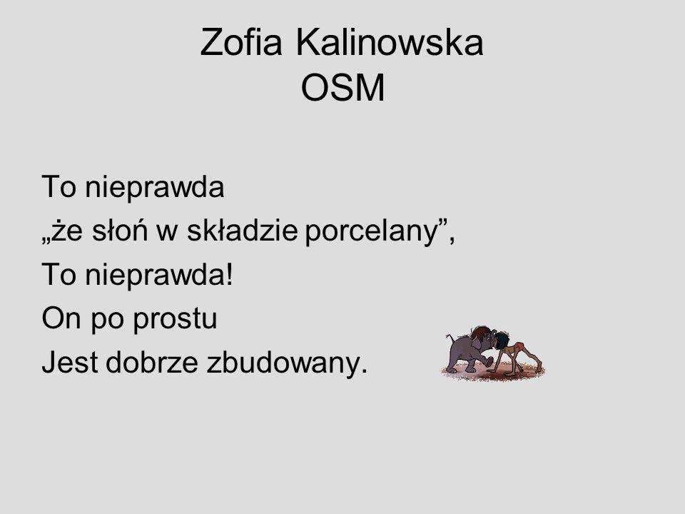 """Zofia Kalinowska OSM To nieprawda """"że słoń w składzie porcelany ,"""