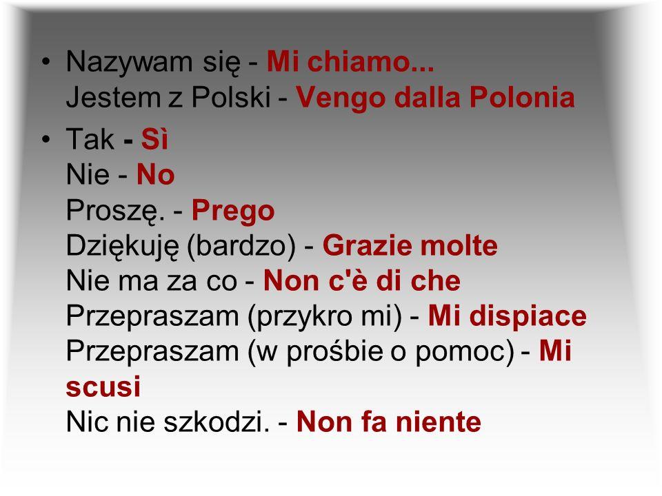 Nazywam się - Mi chiamo... Jestem z Polski - Vengo dalla Polonia