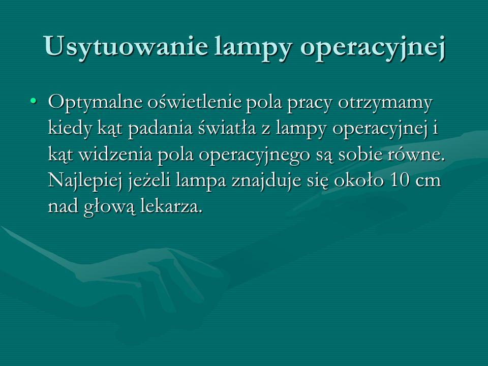 Usytuowanie lampy operacyjnej