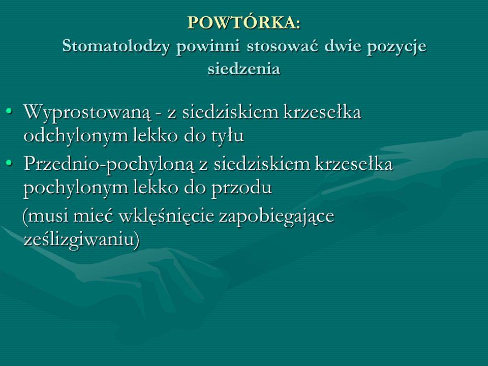 POWTÓRKA: Stomatolodzy powinni stosować dwie pozycje siedzenia