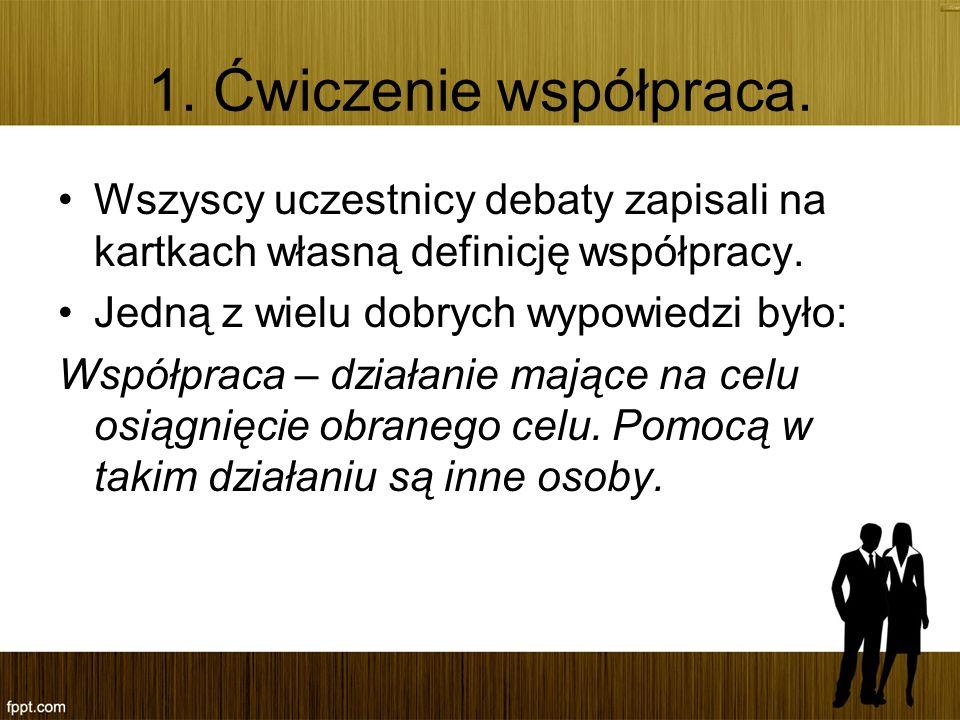 1. Ćwiczenie współpraca. Wszyscy uczestnicy debaty zapisali na kartkach własną definicję współpracy.