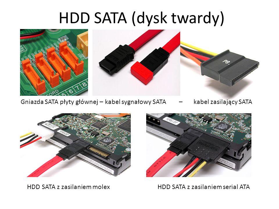 HDD SATA (dysk twardy) Gniazda SATA płyty głównej – kabel sygnałowy SATA – kabel zasilający SATA.