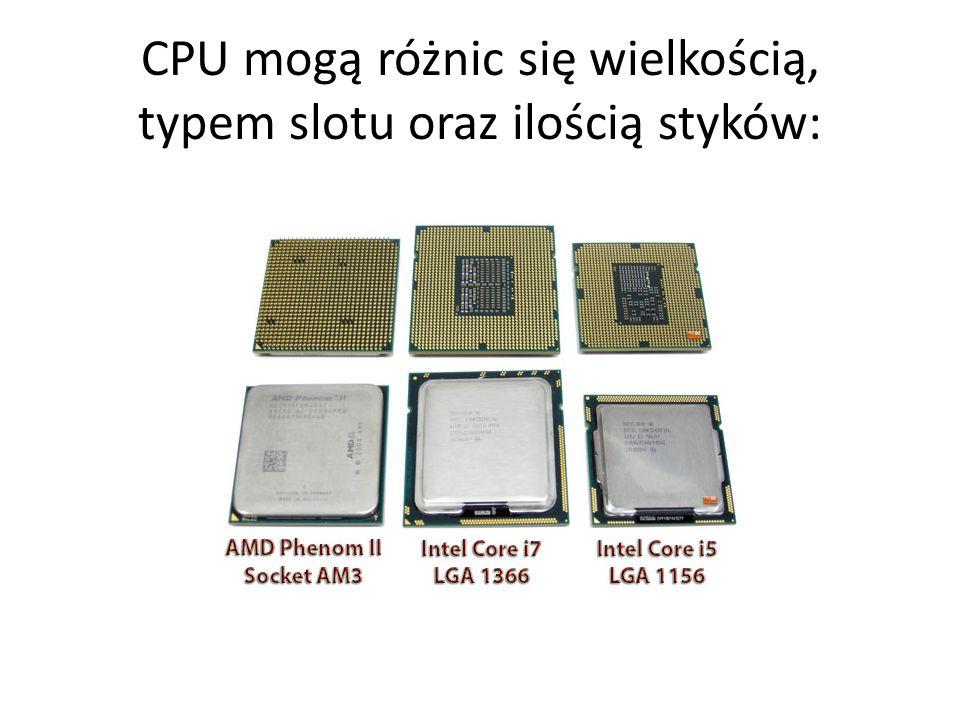 CPU mogą różnic się wielkością, typem slotu oraz ilością styków:
