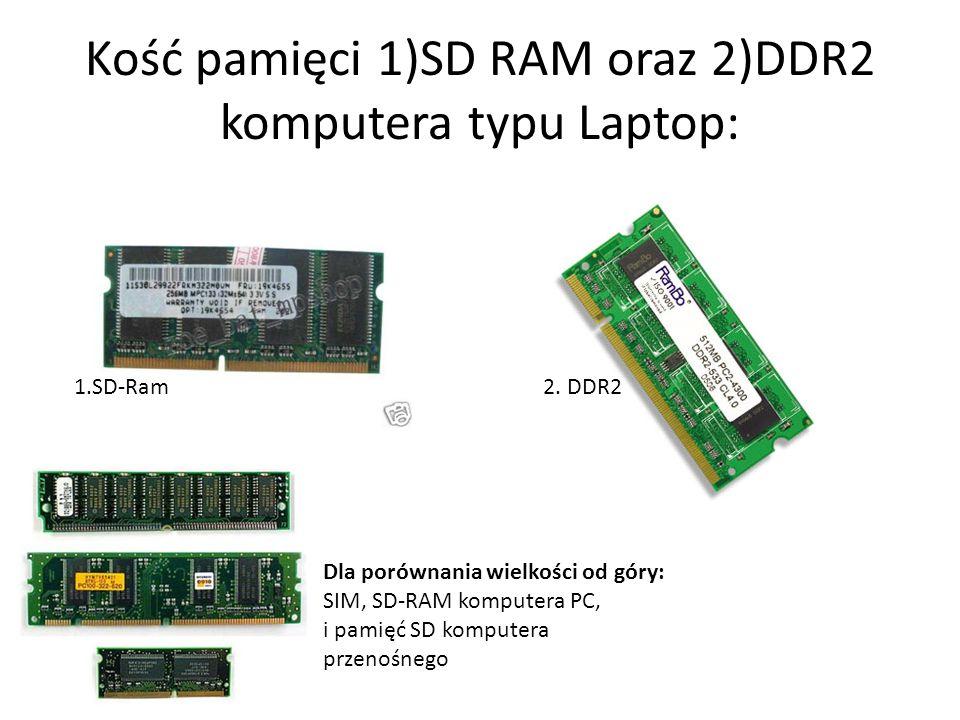Kość pamięci 1)SD RAM oraz 2)DDR2 komputera typu Laptop:
