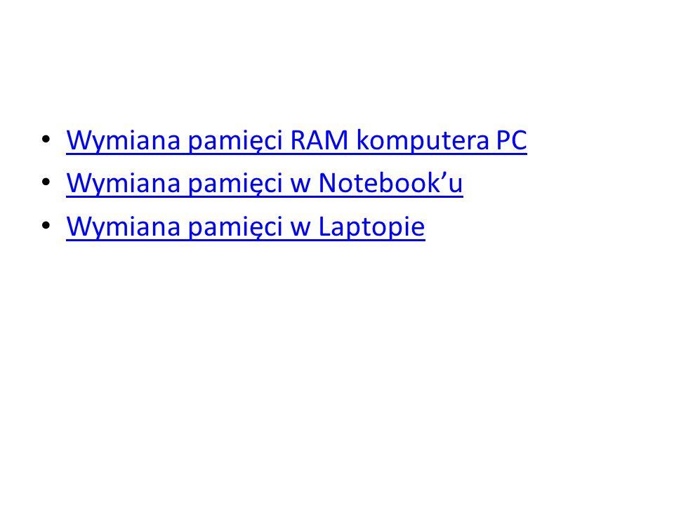Wymiana pamięci RAM komputera PC