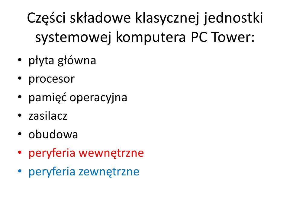 Części składowe klasycznej jednostki systemowej komputera PC Tower: