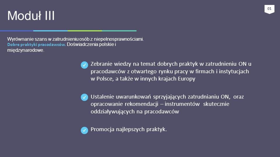 01 Moduł III. Wyrównanie szans w zatrudnieniu osób z niepełnosprawnościami. Dobre praktyki pracodawców. Doświadczenia polskie i międzynarodowe.