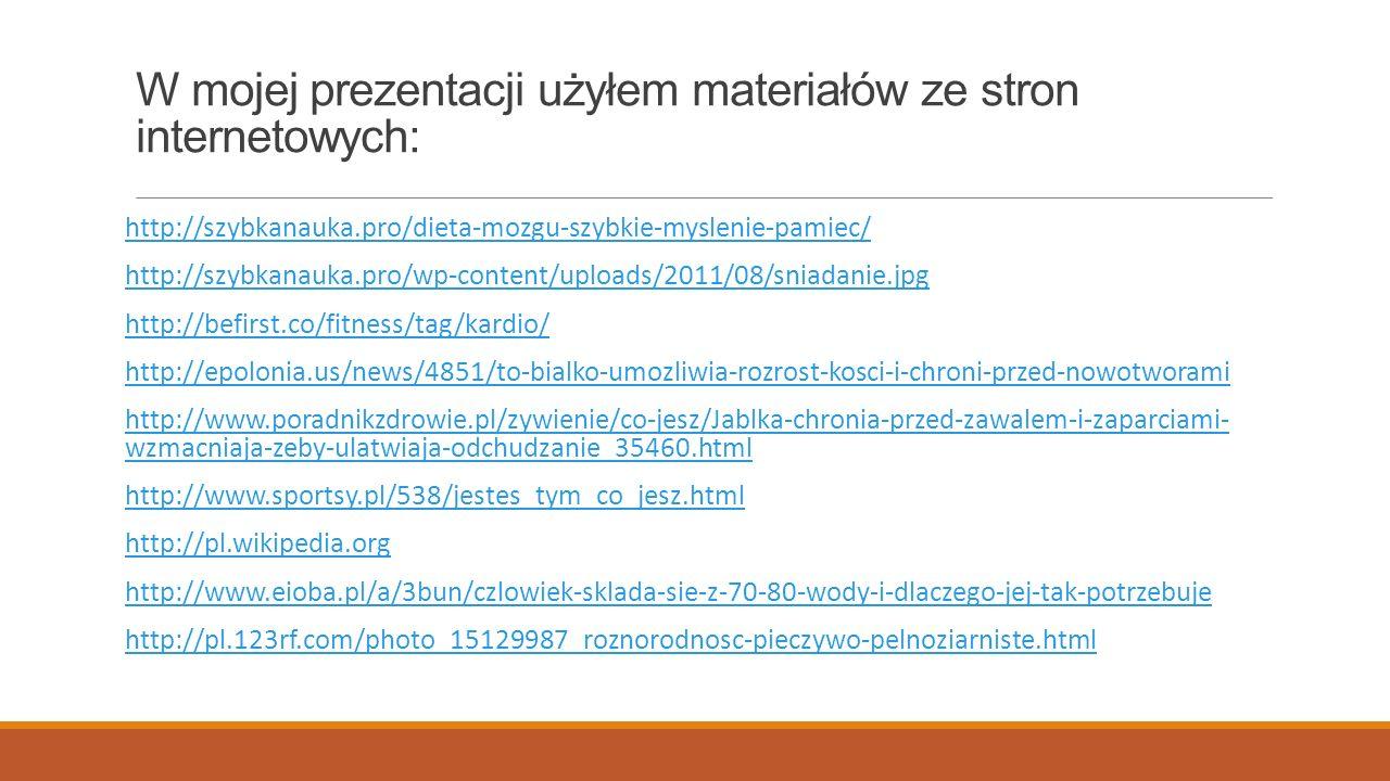 W mojej prezentacji użyłem materiałów ze stron internetowych: