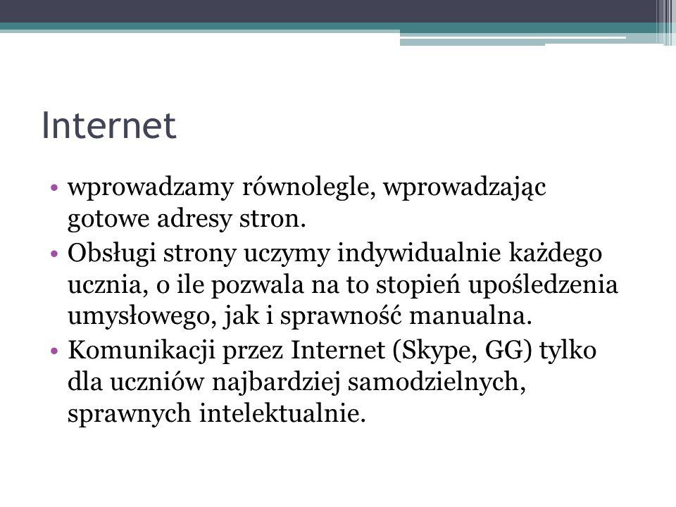 Internet wprowadzamy równolegle, wprowadzając gotowe adresy stron.