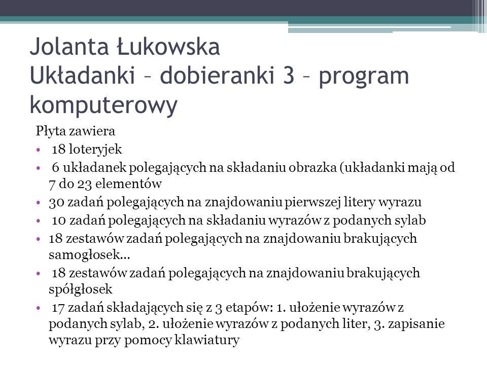 Jolanta Łukowska Układanki – dobieranki 3 – program komputerowy
