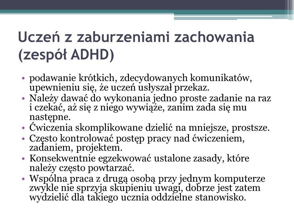 Uczeń z zaburzeniami zachowania (zespół ADHD)