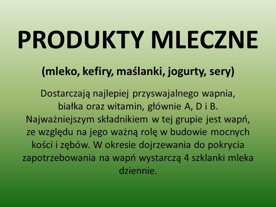 PRODUKTY MLECZNE (mleko, kefiry, maślanki, jogurty, sery)