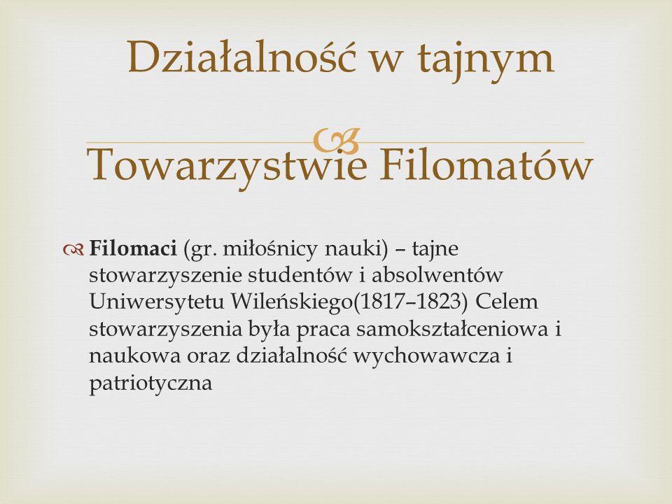 Działalność w tajnym Towarzystwie Filomatów