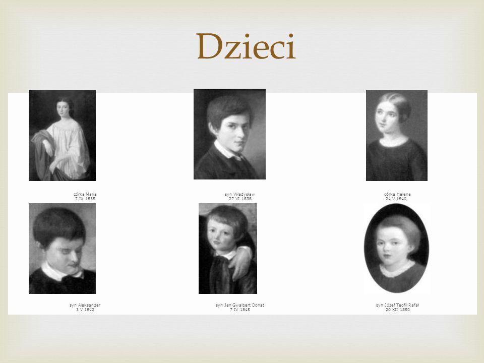 Dzieci córka Maria 7 IX 1835 syn Władysław 27 VI 1838