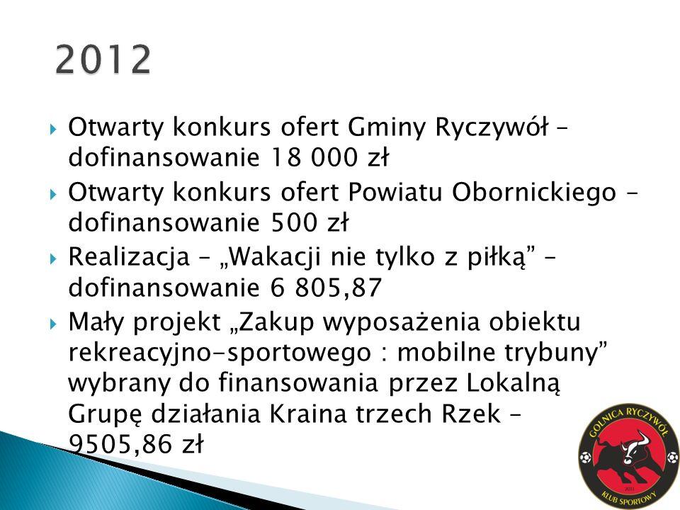 2012 Otwarty konkurs ofert Gminy Ryczywół – dofinansowanie 18 000 zł