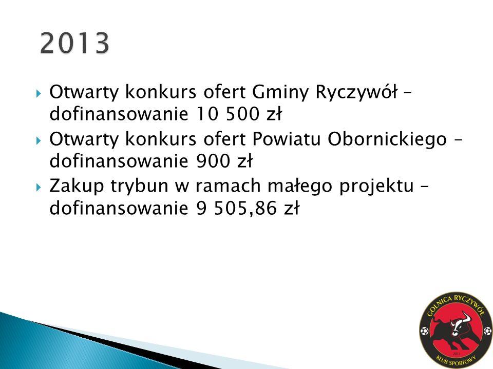 2013 Otwarty konkurs ofert Gminy Ryczywół – dofinansowanie 10 500 zł