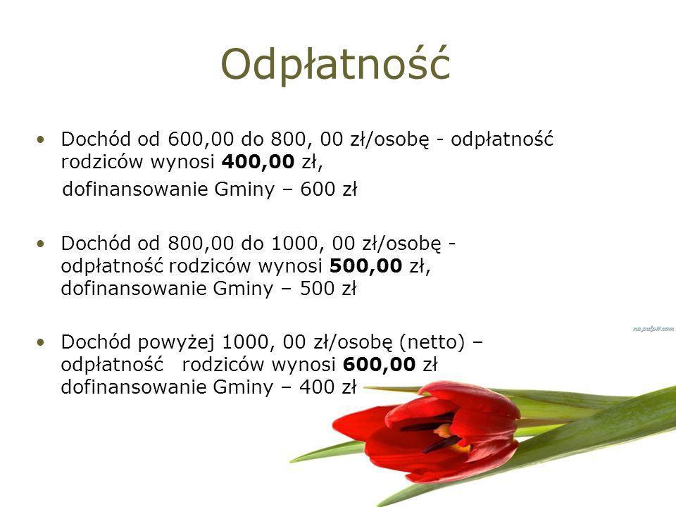 Odpłatność Dochód od 600,00 do 800, 00 zł/osobę - odpłatność rodziców wynosi 400,00 zł, dofinansowanie Gminy – 600 zł.