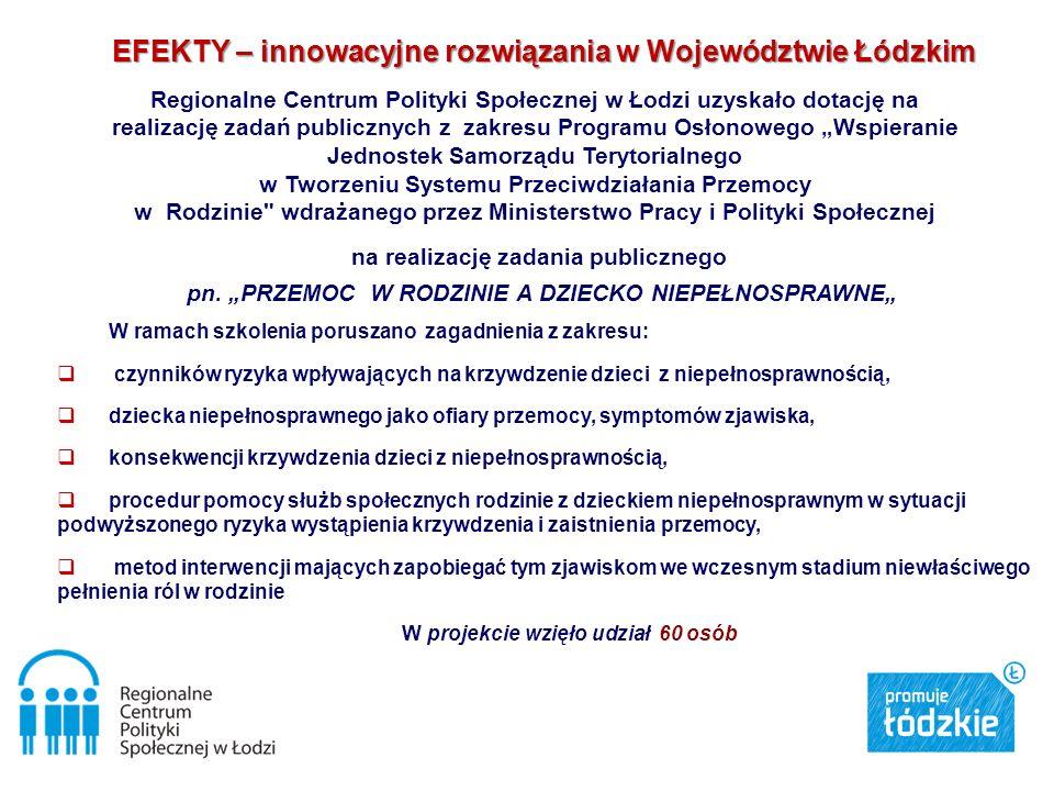 EFEKTY – innowacyjne rozwiązania w Województwie Łódzkim