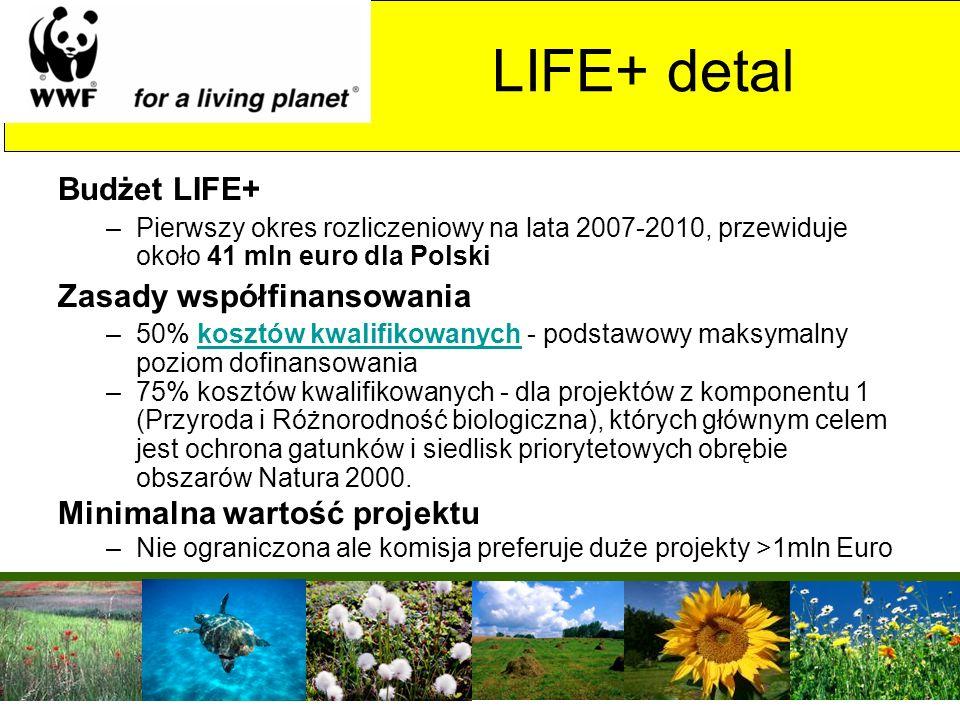 LIFE+ detal Budżet LIFE+ Zasady współfinansowania