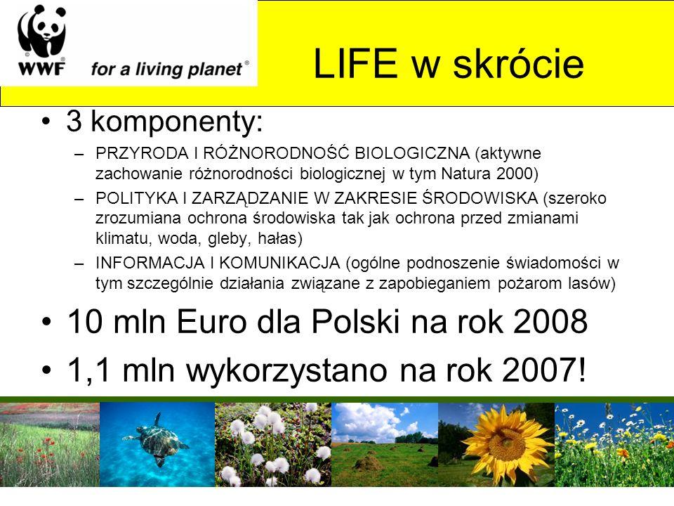 LIFE w skrócie 10 mln Euro dla Polski na rok 2008