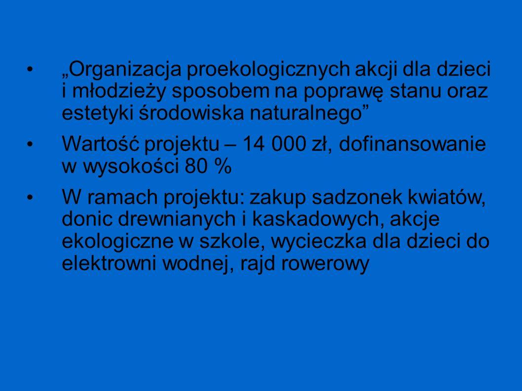 """""""Organizacja proekologicznych akcji dla dzieci i młodzieży sposobem na poprawę stanu oraz estetyki środowiska naturalnego"""