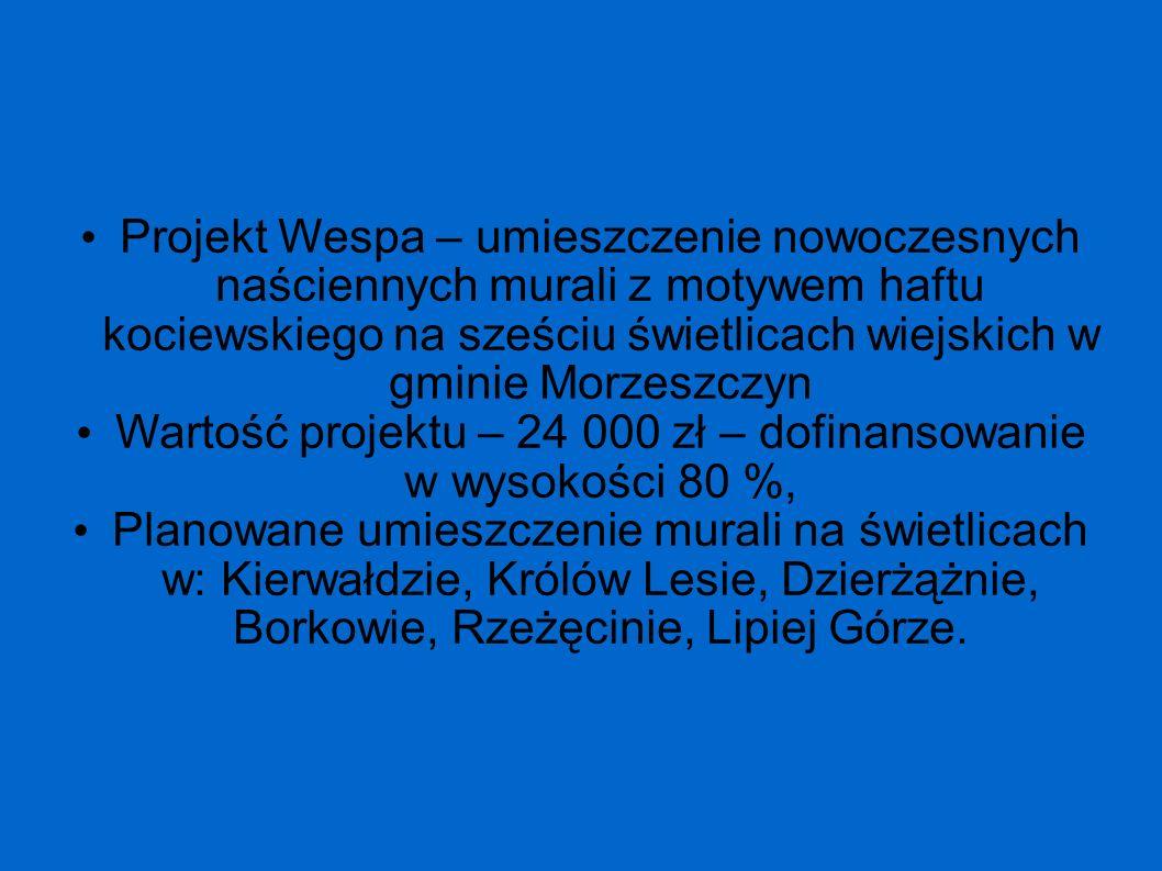 Wartość projektu – 24 000 zł – dofinansowanie w wysokości 80 %,