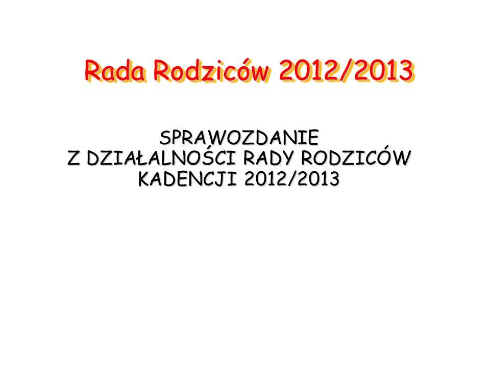 SPRAWOZDANIE Z DZIAŁALNOŚCI RADY RODZICÓW KADENCJI 2012/2013
