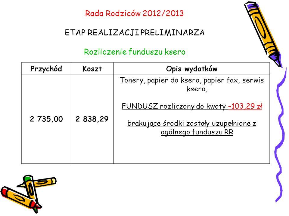 Rada Rodziców 2012/2013 ETAP REALIZACJI PRELIMINARZA Rozliczenie funduszu ksero