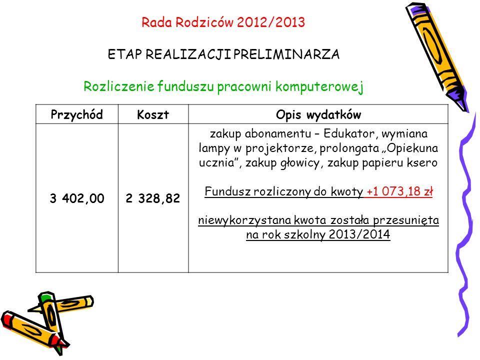 Rada Rodziców 2012/2013 ETAP REALIZACJI PRELIMINARZA Rozliczenie funduszu pracowni komputerowej