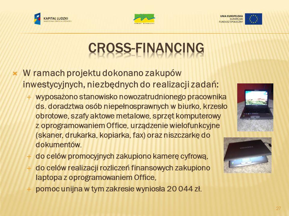 Cross-financing W ramach projektu dokonano zakupów inwestycyjnych, niezbędnych do realizacji zadań: