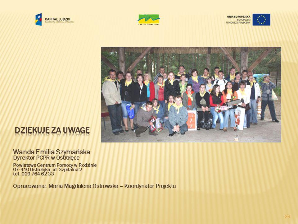 Dziękuję za uwagę Wanda Emilia Szymańska Dyrektor PCPR w Ostrołęce