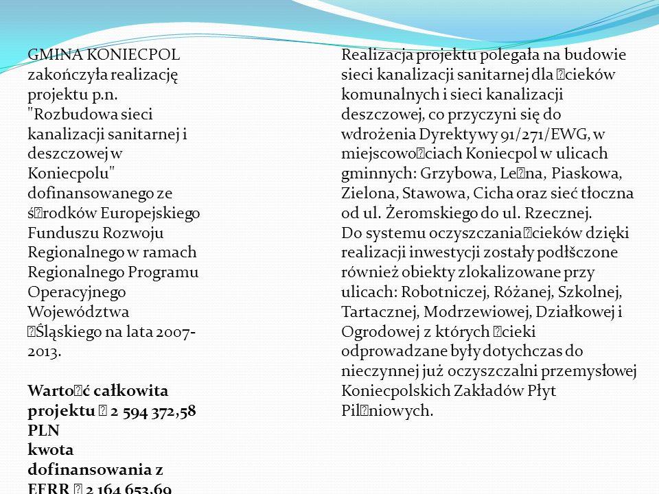 GMINA KONIECPOL zakończyła realizację projektu p. n