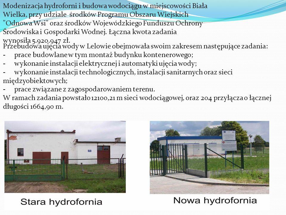 Modenizacja hydroforni i budowa wodociągu w miejscowości Biała Wielka, przy udziale środków Programu Obszaru Wiejskich Odnowa Wsi oraz środków Wojewódzkiego Funduszu Ochrony Środowiska i Gospodarki Wodnej. Łączna kwota zadania wynosiła 5.920.947 zł.