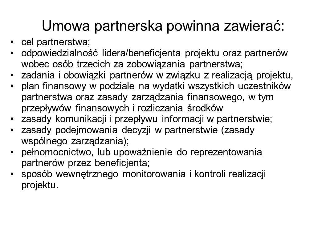 Umowa partnerska powinna zawierać: