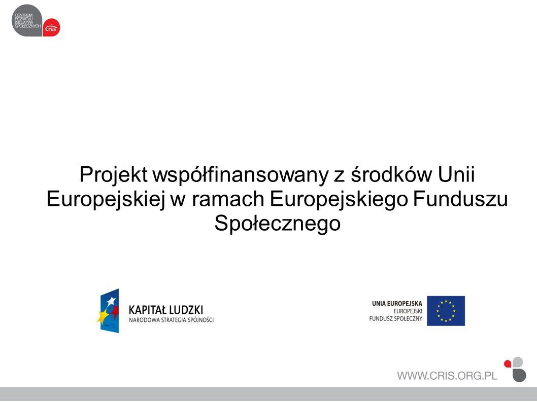 Projekt współfinansowany z środków Unii Europejskiej w ramach Europejskiego Funduszu Społecznego