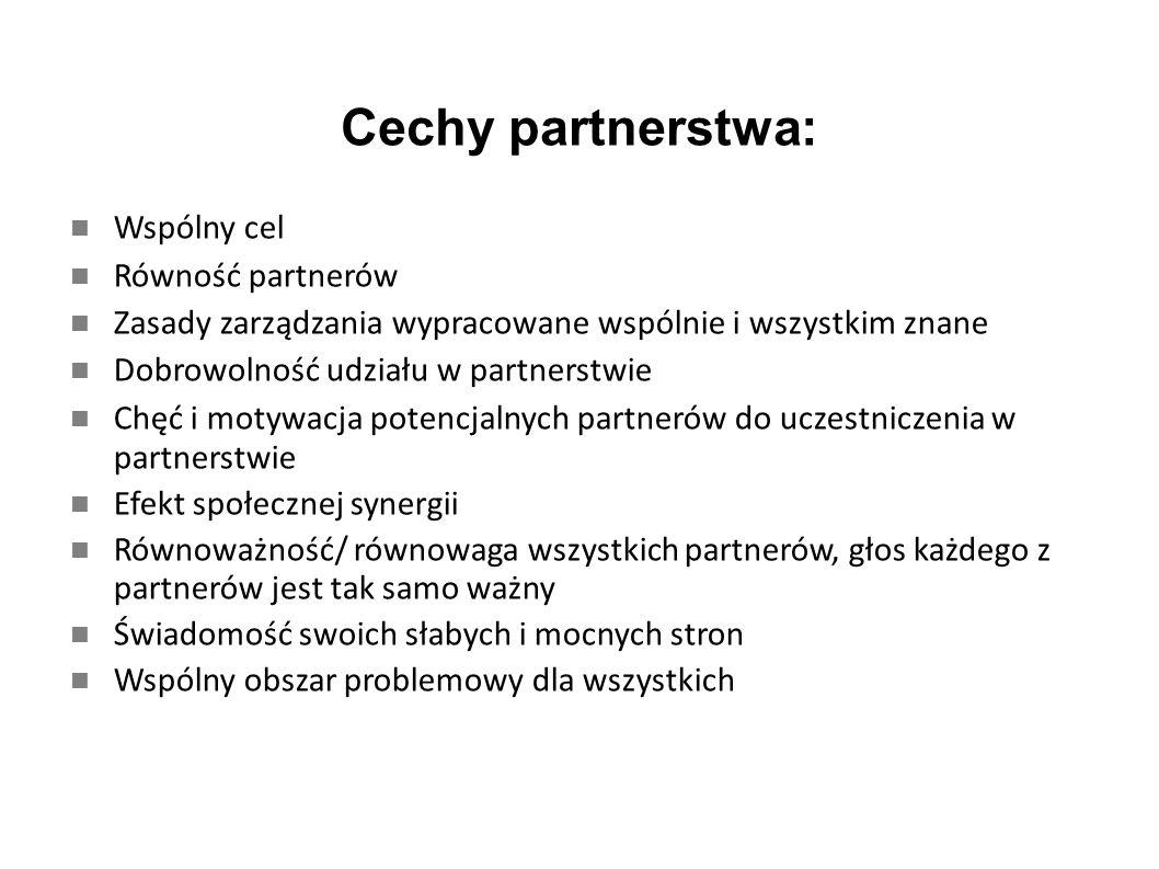 Cechy partnerstwa: Wspólny cel Równość partnerów