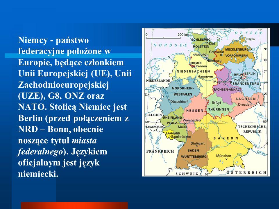 Niemcy - państwo federacyjne położone w Europie, będące członkiem Unii Europejskiej (UE), Unii Zachodnioeuropejskiej (UZE), G8, ONZ oraz NATO.