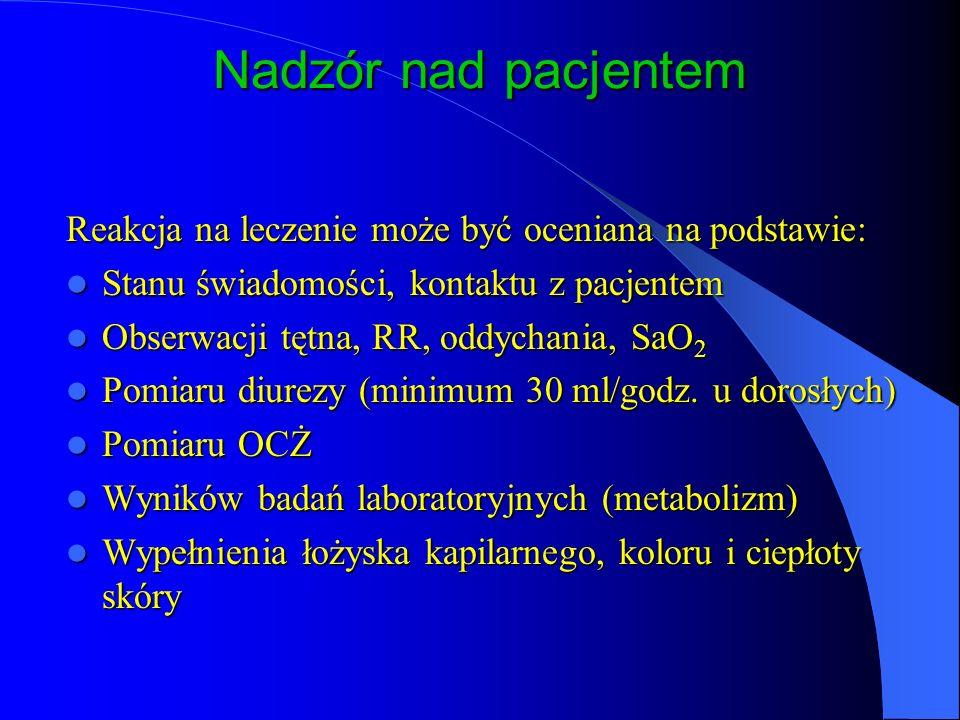 Nadzór nad pacjentem Reakcja na leczenie może być oceniana na podstawie: Stanu świadomości, kontaktu z pacjentem.
