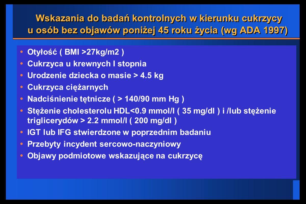 Wskazania do badań kontrolnych w kierunku cukrzycy u osób bez objawów poniżej 45 roku życia (wg ADA 1997)